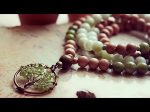 Rosewood Mala Necklace with Peridot & Jade by Golden Lotus Mala