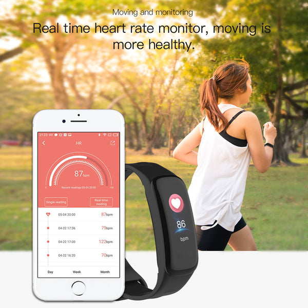 C1S Color Screen Blood Pressure Waterproof Fitness Tracker Heart Rate  Monitor Smart Band