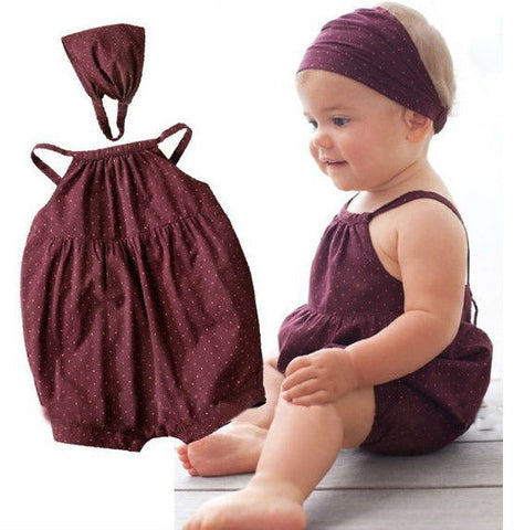 Baby Girl Deep Red Romper With Head Belt