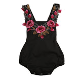 Sharon - Black Floral Baby Girl Romper