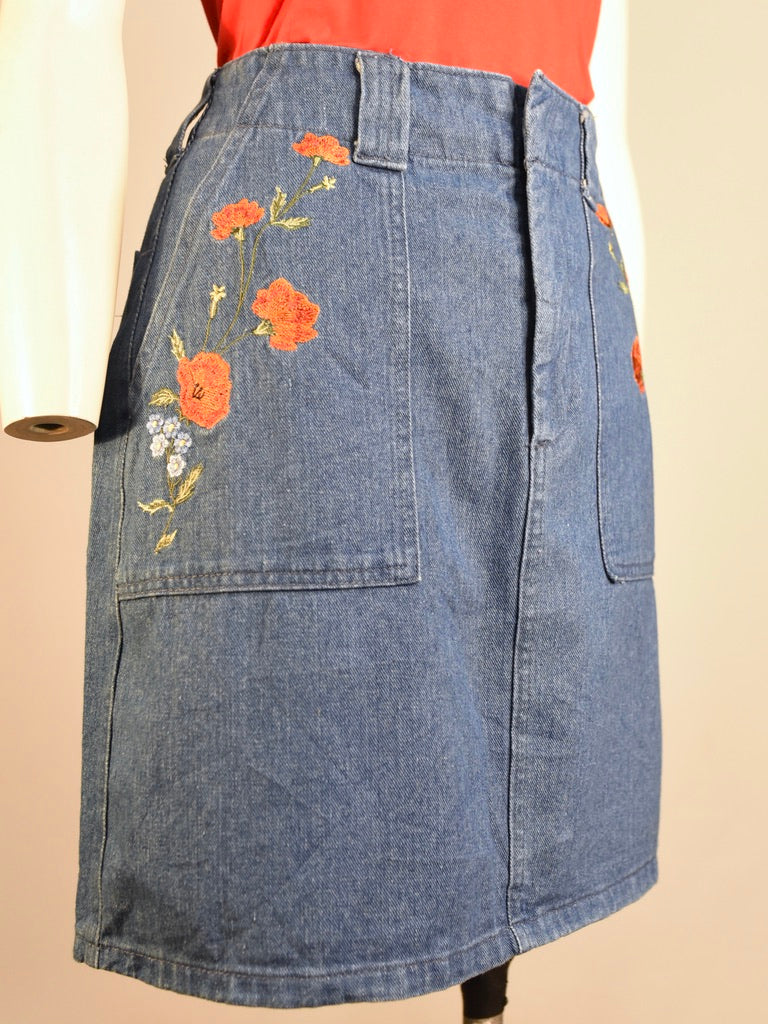 Farida Floral Denim Skirt