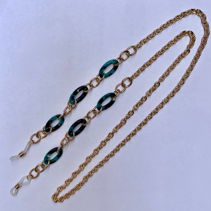 Gold Chain and Green Tort Sunnies Strap