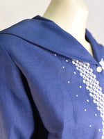 Beautiful Blue Embroidered Blouse - AS IS - marks