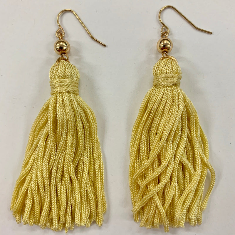Sunny Yellow Tassel Earrings