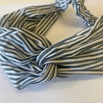 Grey and White Striped Headband