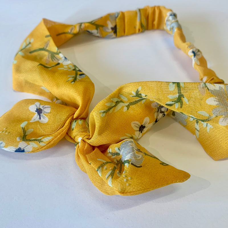 Yellow Floral Bow Headband