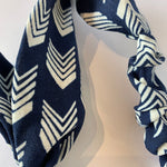 Navy Chevron Floral Headband