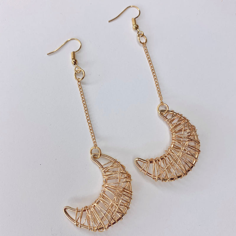 Wire Wrap Moon Earrings