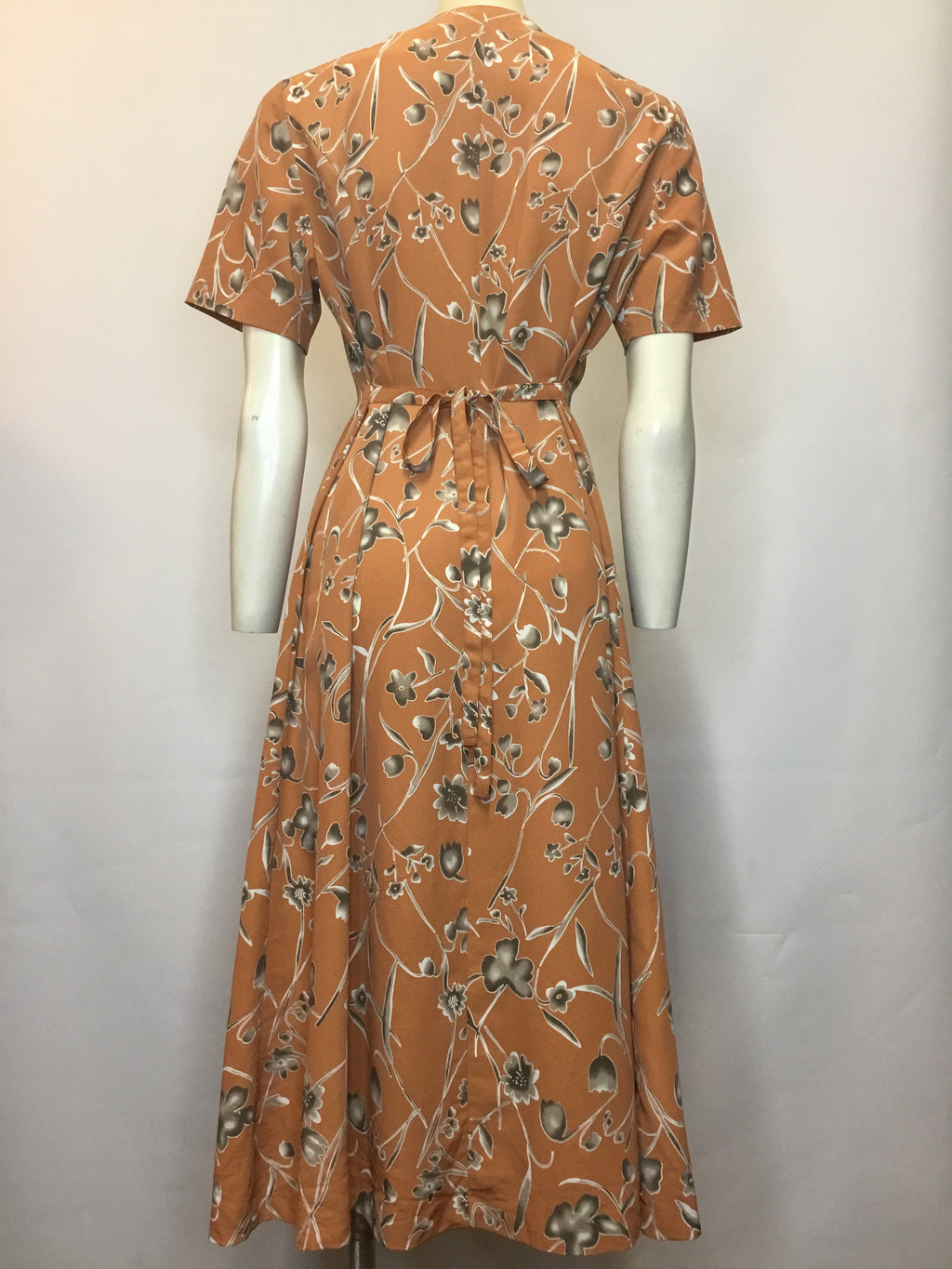 Blooms of Orange Dress - AS IS - odd button