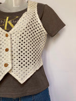 White Crochet Vest - AS IS - small hole