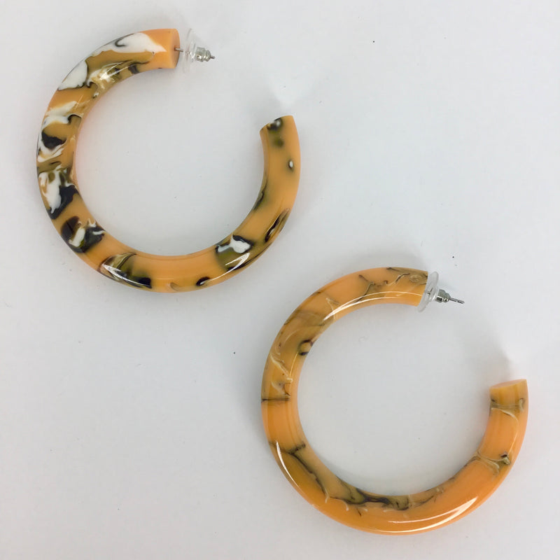 Orange Marbled Earrings