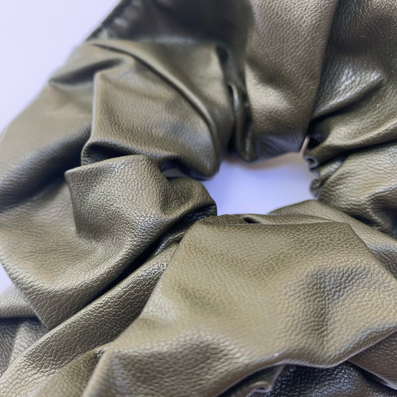 Olive Faux Leather Scrunchie