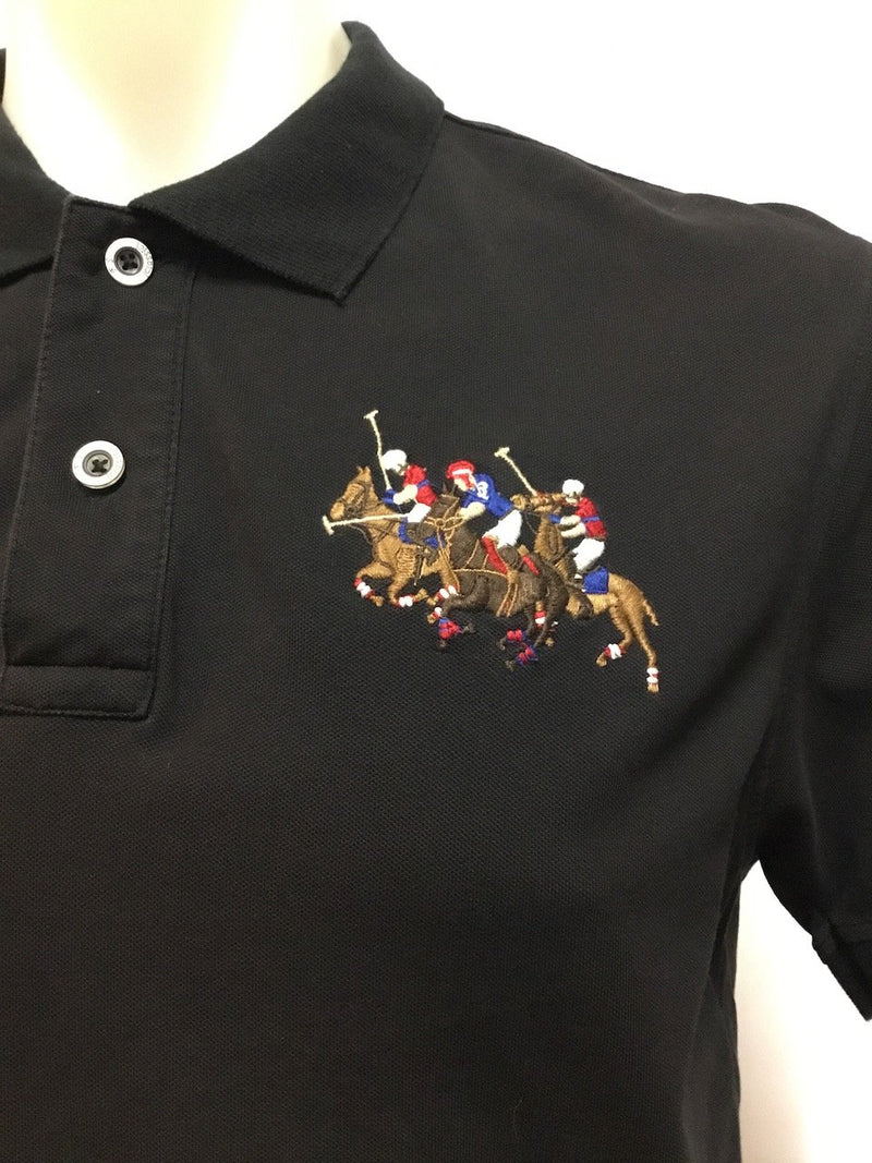 Black Embroidered Ralph Lauren Polo