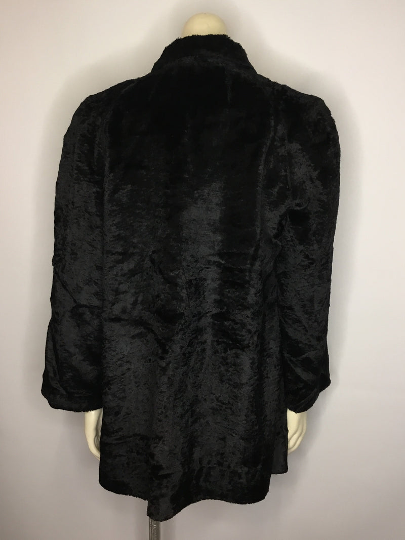Black Faux Velvet Coat