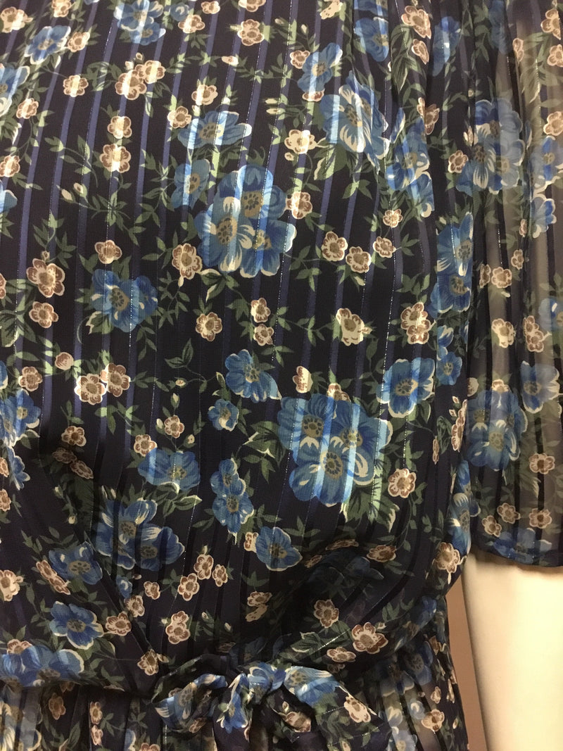 Blue Floral Dress with a Touch of Sparkle