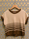 Brown Striped 70s Top