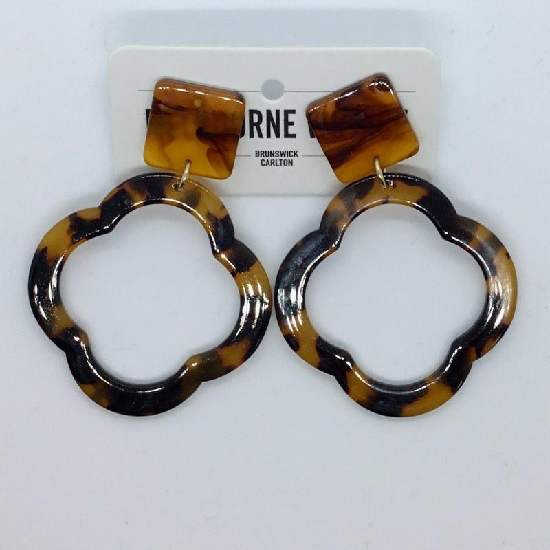 Brown Tort Quatrefoil Earrings