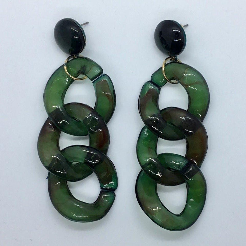 Chunk Green Chain Earrings