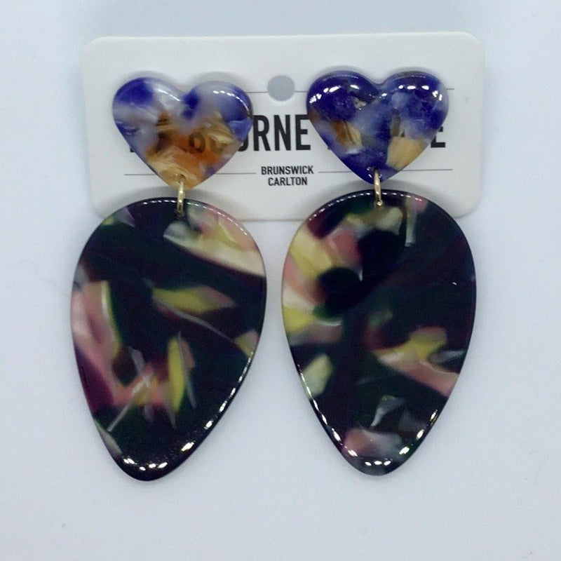 Cold Blue Heart Earrings