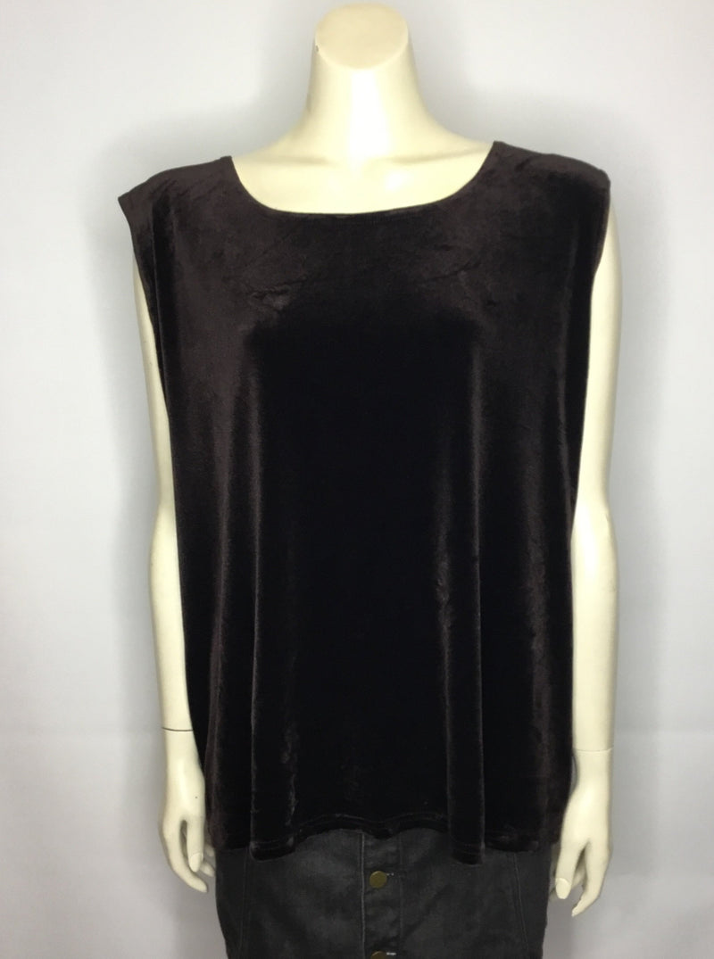 Deep Brown Velvet Singlet