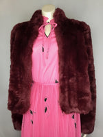 Delicious Berry Faux Fur Crop Jacket