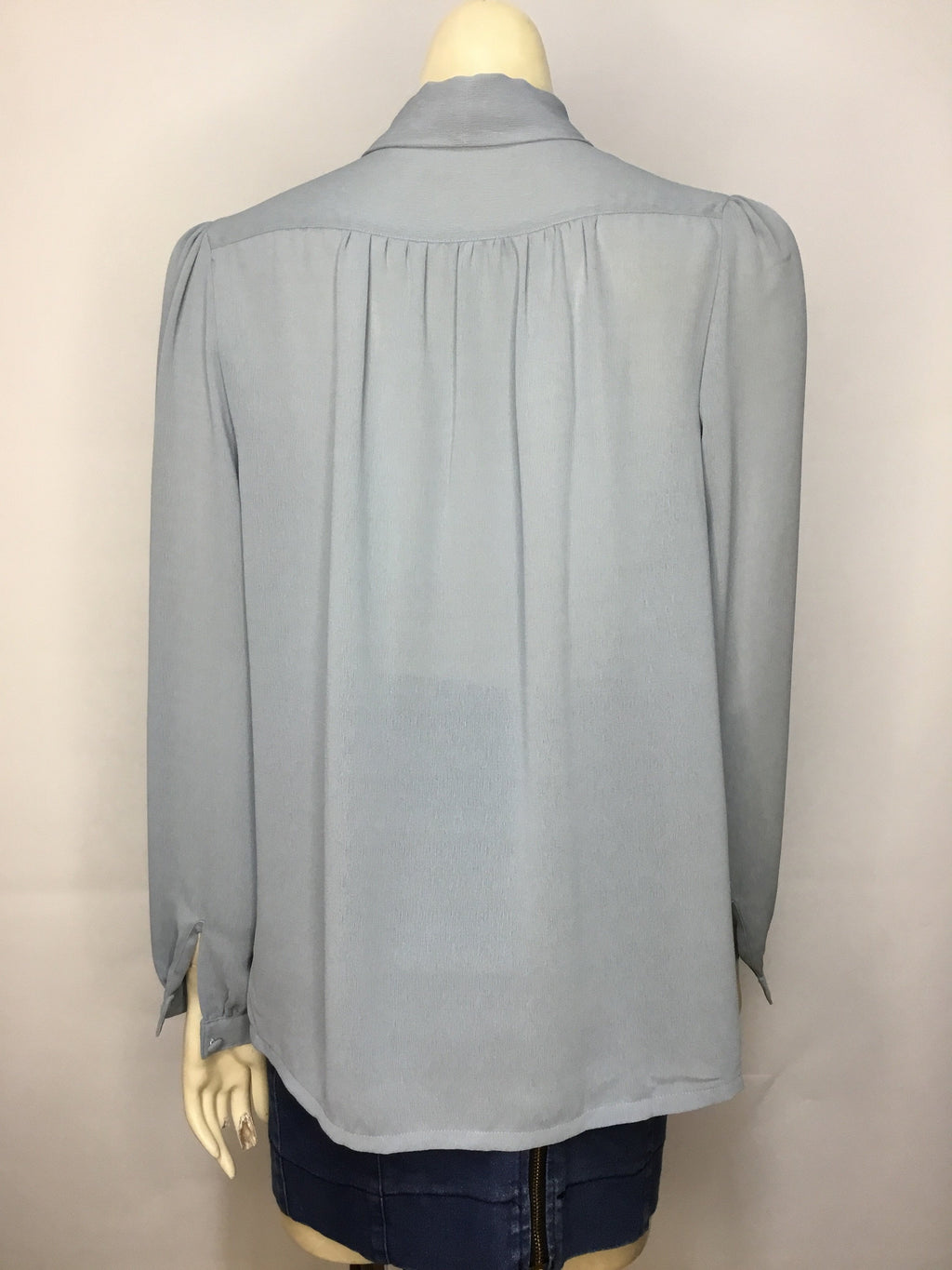 Dusty Blue Pussy Bow Blouse