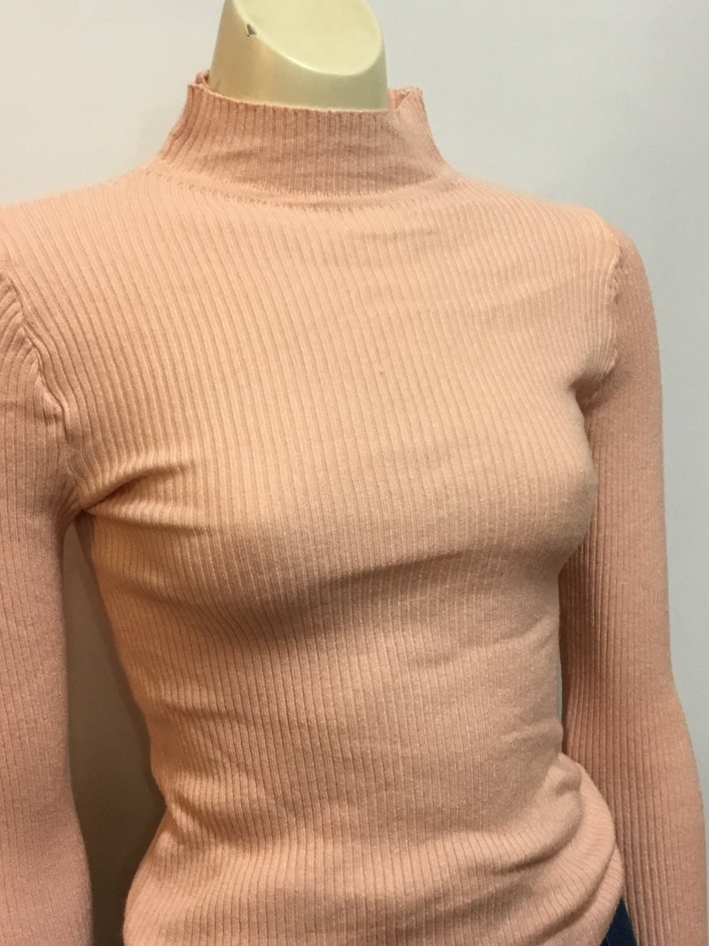 Dusty Pink Ribbed Turtleneck