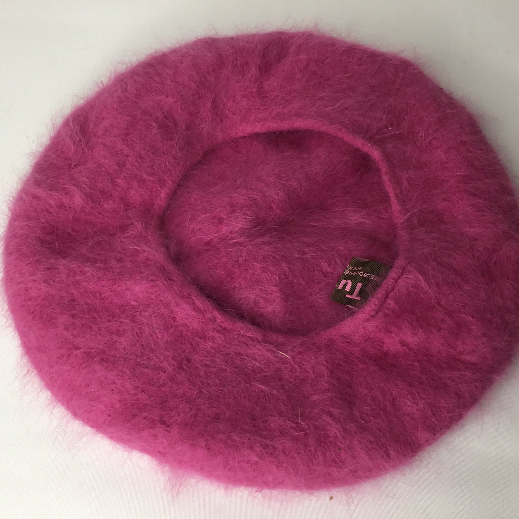 Fuzzy Pink Wool Beret