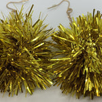 Gold Pom Pom Tinsel Earrings