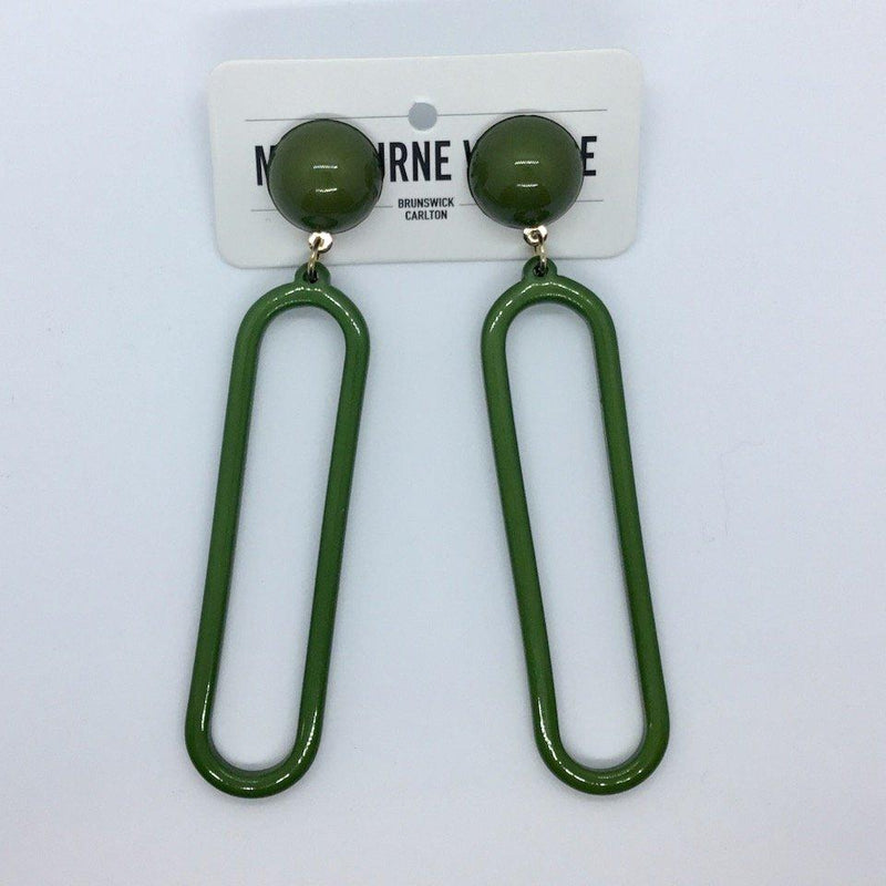 Green Oblong Earrings