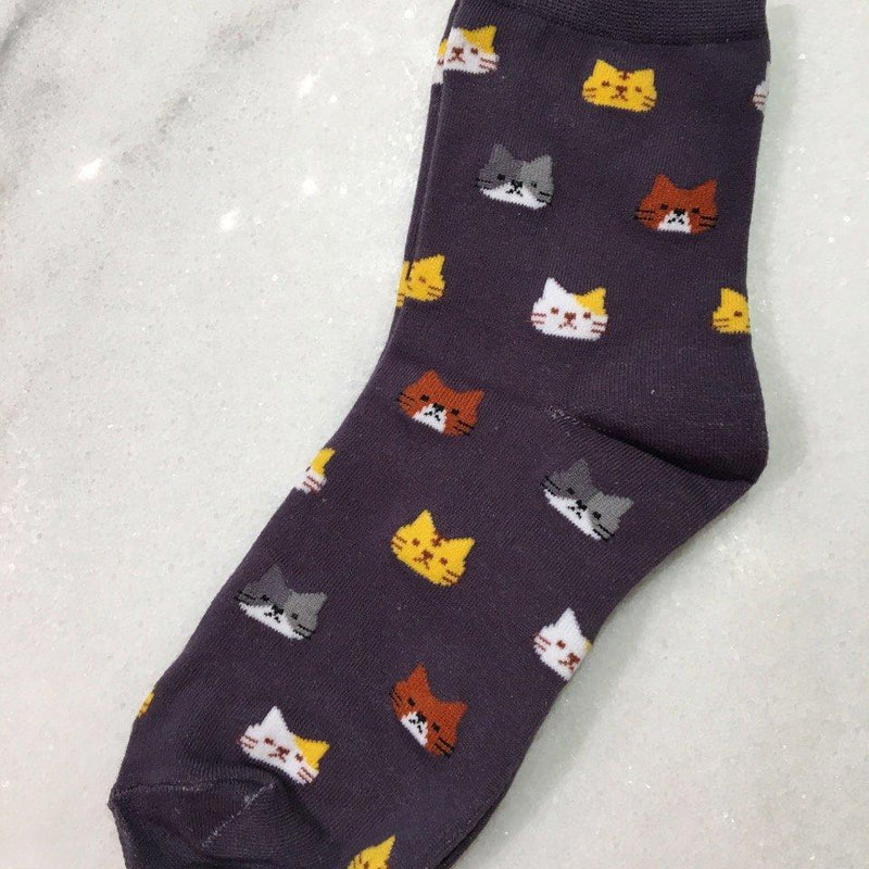 Grey Kitty Socks