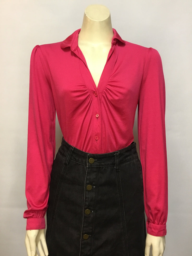 Hot Pink 70s Blouse