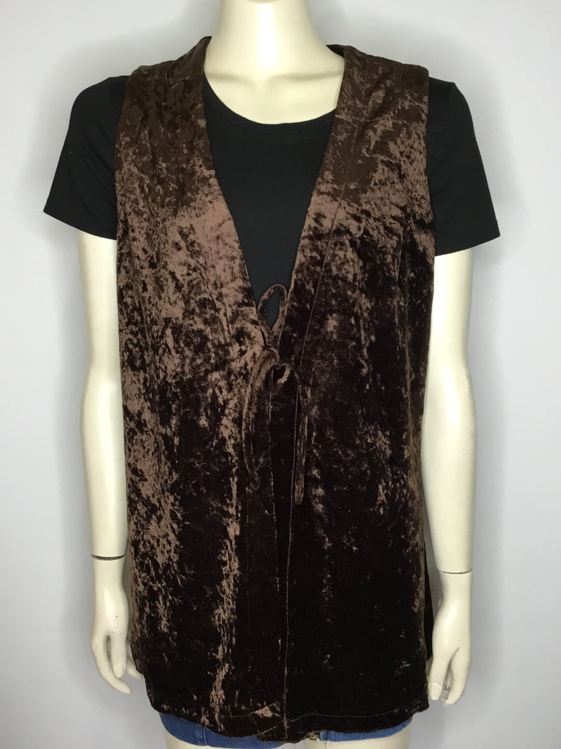 Long Brown Velvet Vest