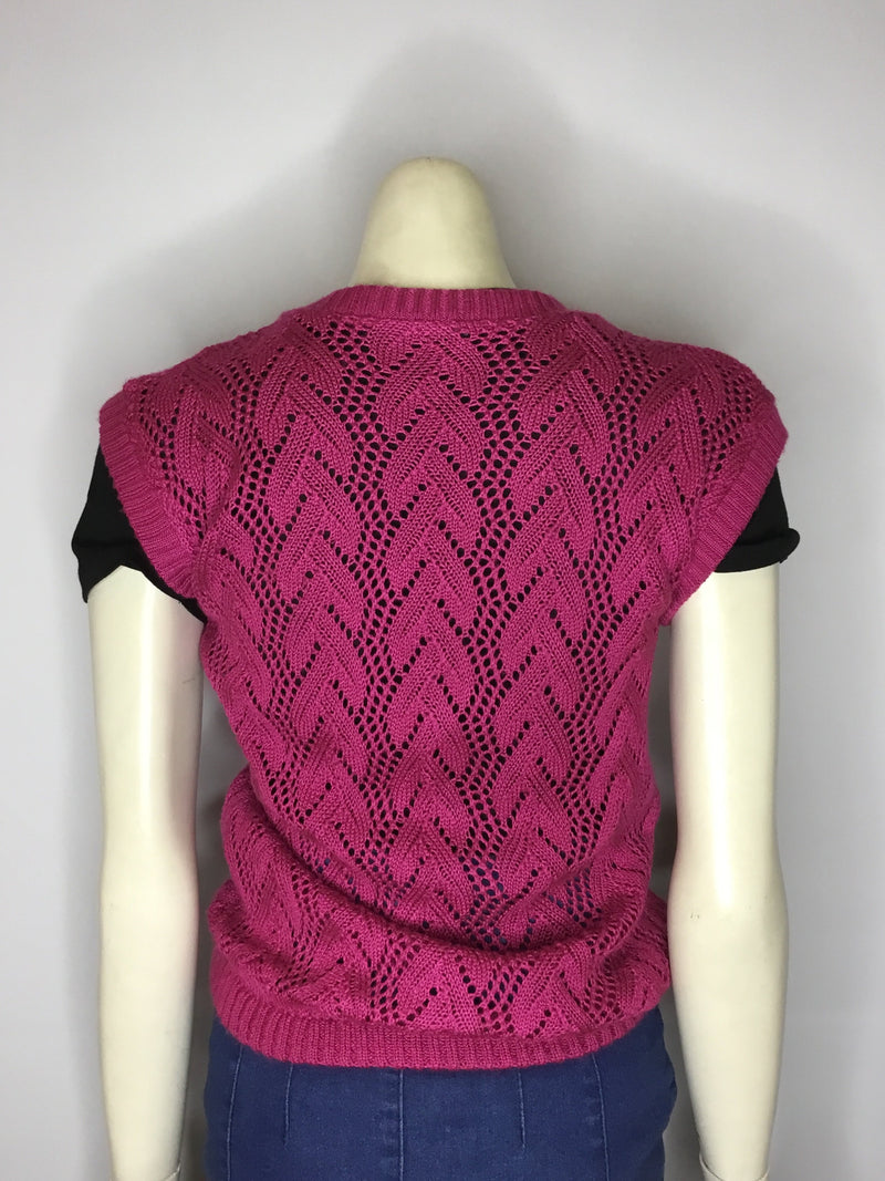 Vivid Magenta Knitted Vest - AS IS - general wear / marks