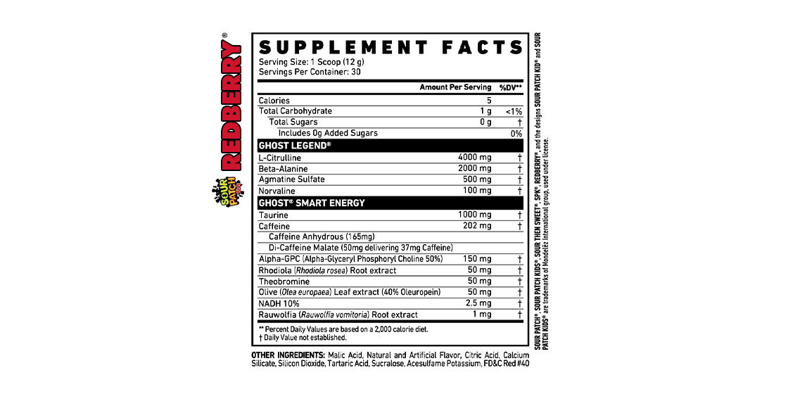 GHOST LEGEND® x SOUR PATCH KIDS® REDBERRY pre workout Supplement Facts