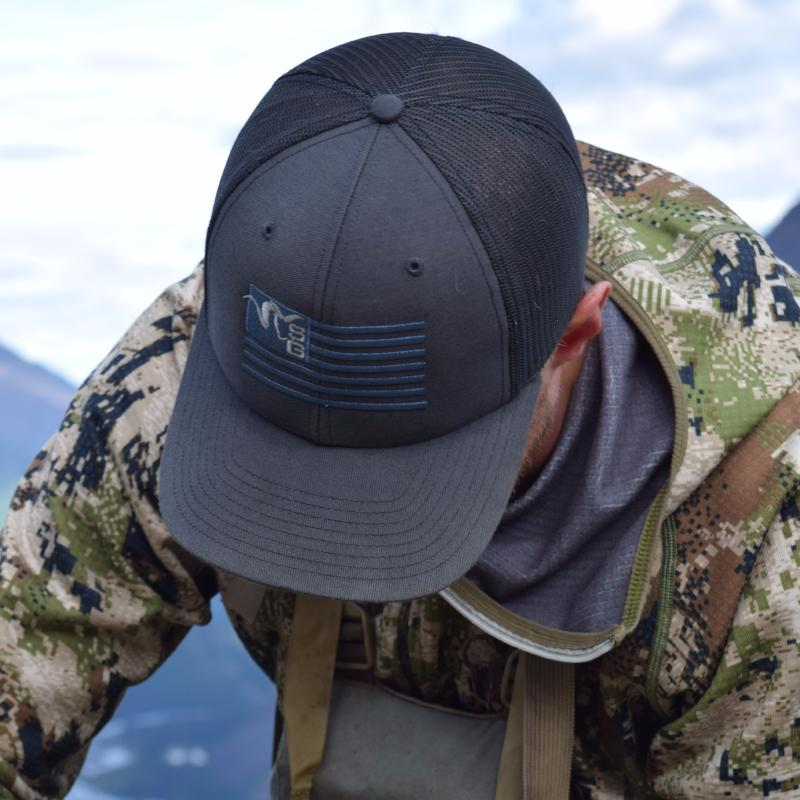 a4b6c25664a3b Stone Glacier trucker hat. Previous slide. SG Ram Flag Trucker ...