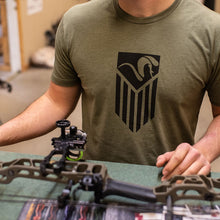 American Ram Flag T-Shirt - Military Green