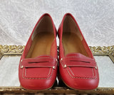 Franco Sarto red leather loafers