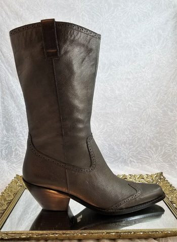 Coldwater Creek bronze leather western boots