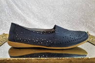Foot Thrills blue leather slip ons