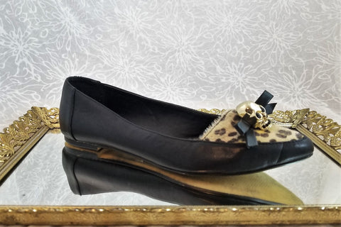 Material Girl black leather flats