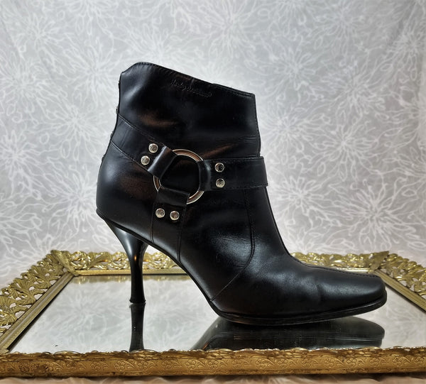 Harley Davidson black leather booties
