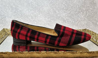 Sole Society red plaid loafers