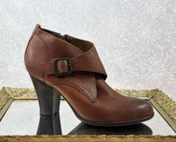 b.o.c. brown leather crossover booties