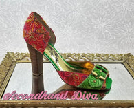 Naughty Monkey pink and green embroidered heels