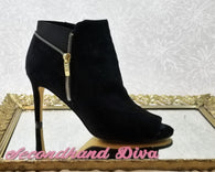 Marc Fisher black suede peep toe booties
