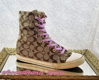 Coach brown branded Bonney high top sneakers