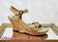 Born nude shimmer leather sandals