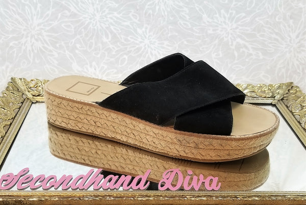 Dolce Vita black suede cross strap slides
