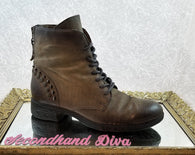 Browns grey/brown leather combat boots